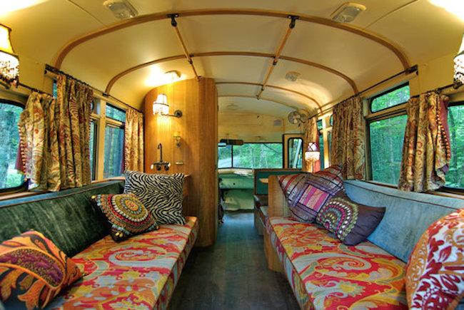 Mermaid decor for bathroom - Hippie School Bus Interior 1959 Chevrolet Viking Short Bus Converted