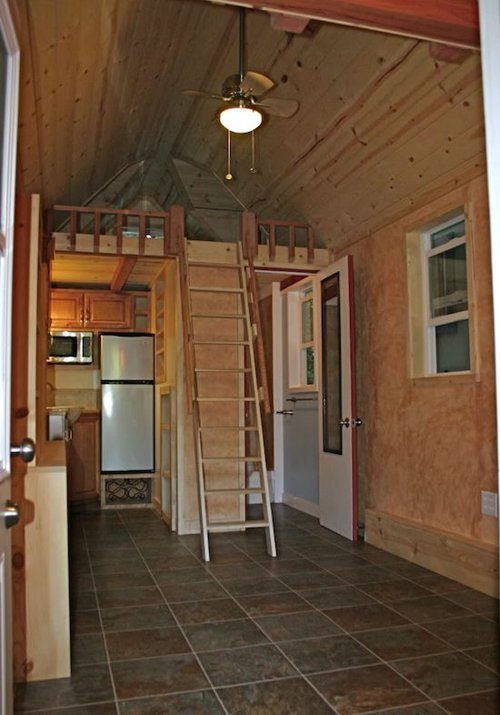 Tiny house trailer rv house made of redwood custom fold up deck for Rv with loft