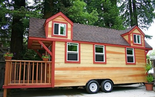 Tiny House Trailer: RV House Made of Redwood