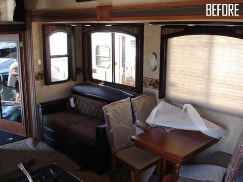 rv living room to office upgrade and renovation. Black Bedroom Furniture Sets. Home Design Ideas