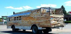 Unique Wooden RV Bus with Custom Back Porch