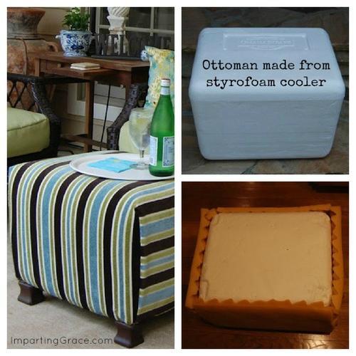 diy rv ottoman custom made from a styrofoam storage cooler. Black Bedroom Furniture Sets. Home Design Ideas