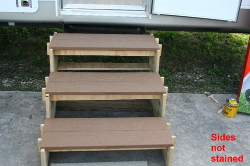 Simple portable rv stairs so easy a 84 year old man can do it for Rv deck plans