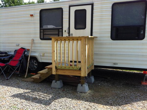 Portable Rv Deck : Unique wooden portable steps for your travel trailer