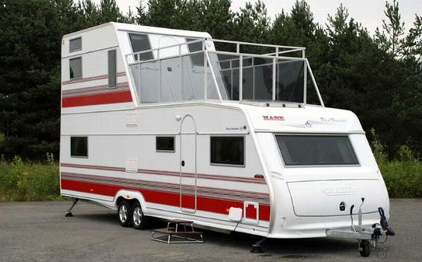 Two story rv a travel trailer with 2 floors and walk out for Rv with balcony
