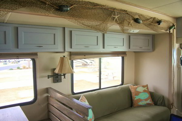 A beach rv interior for the beach bum in all of us Travel trailer decorating ideas