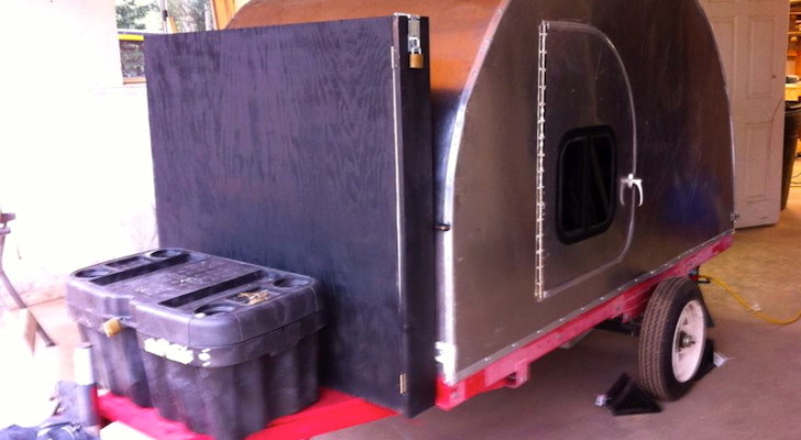 Homemade Tear Drop Camper With a Solar Panel Storage Unit