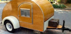 Unique 1940s Style Teardrop Camper With Modern Amenities.