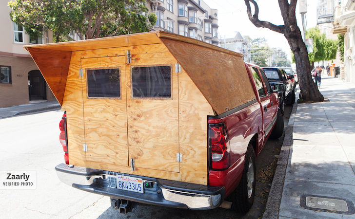 A Handyman Made His Own Custom Wooden Truck Camper.