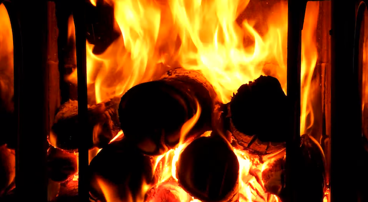 Relax And Unwind Watching This Video Of A Burning Fireplace Complete With Wind Sounds