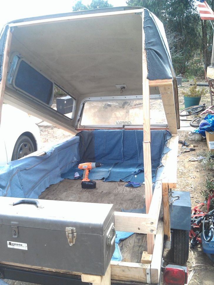 Homemade Pop Up Tent Camper Made From Recycled Items
