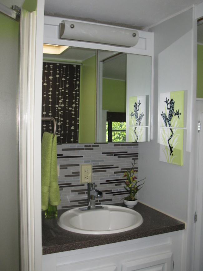 Diy nature inspired rv renovation for Install bathroom in enclosed trailer