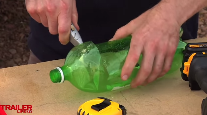 How to make diy awning protectors for your rv for Cut top off bottle