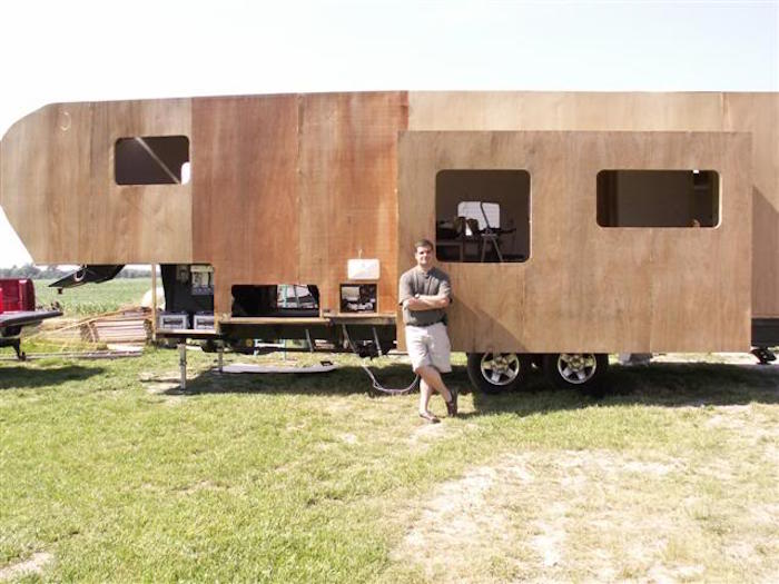 The proud builder and his DIY slide out…on his DIY fifth wheel!