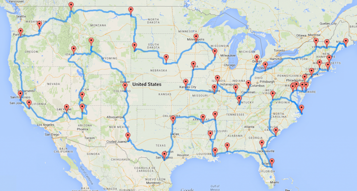 Use This Scientifically Proven Map To Visit (Most) All Major US Landmarks