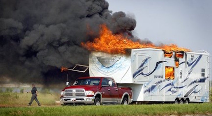 Fifth Wheel Toy Hauler Model Called The Inferno Catches Fire And Burns
