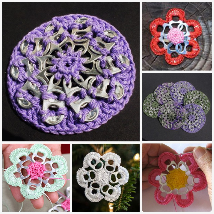 Crocheting With Pop Tabs : ... work with this cute coaster idea made from recycled soda can pop tabs