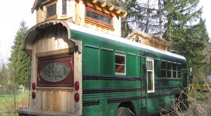 280 Square Foot Green Cedar Bus Made By A Woodworker's Son