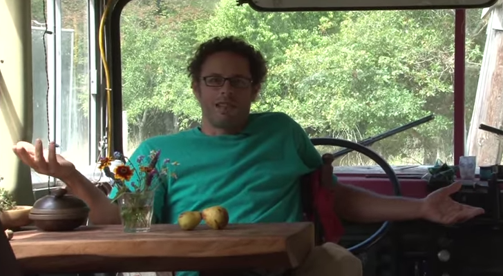 Some May Think His School Bus Retreat Looks Disgusting, But He's At Peace