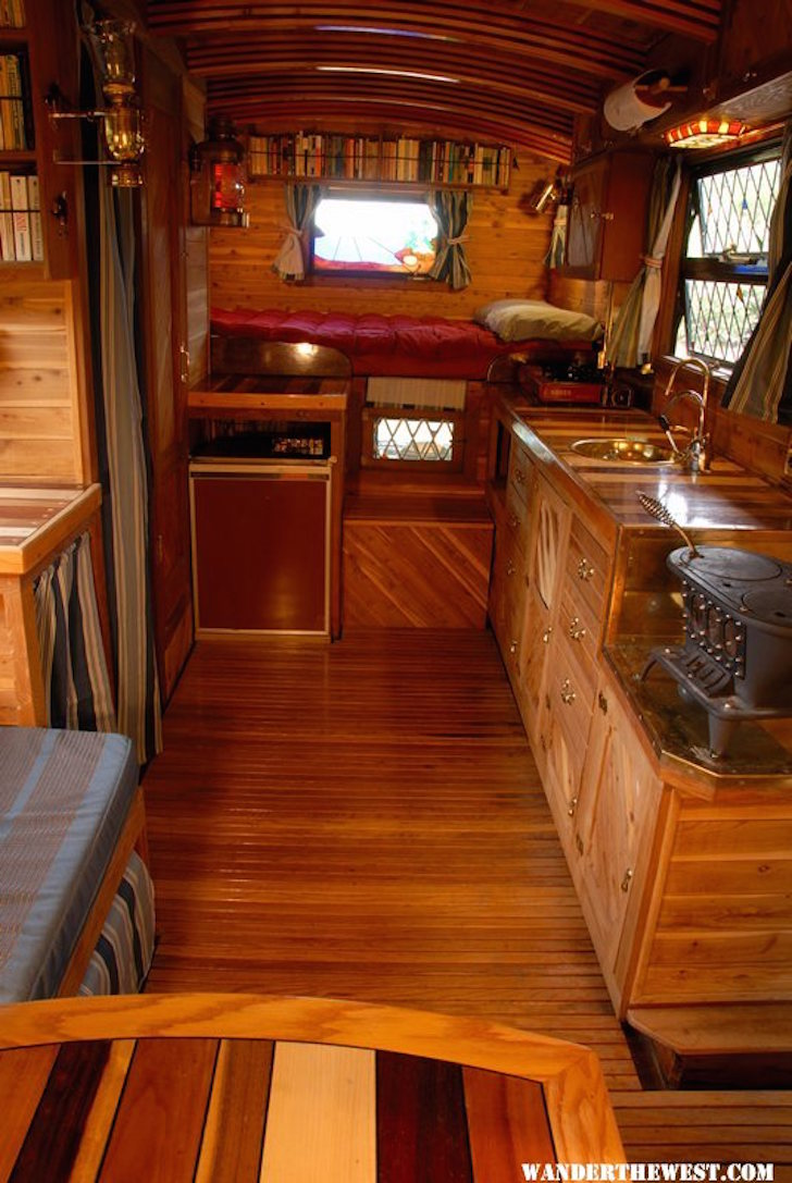 Handmade truck camper with a yacht like interior for Living area interior