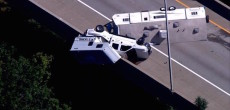 Truck Camper Towing Travel Trailer Dangles From High Overpass And New Jersey Police Shut Down Highway