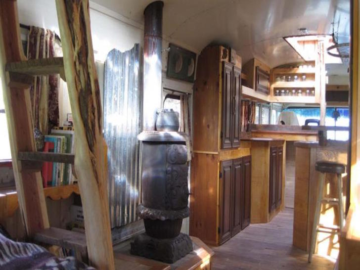 280 Square Foot Green Cedar Bus Made By A Woodworker