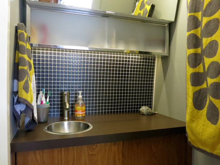 An rv bathroom remodel for under 100 yes it 39 s possible for Rv bathroom wallpaper