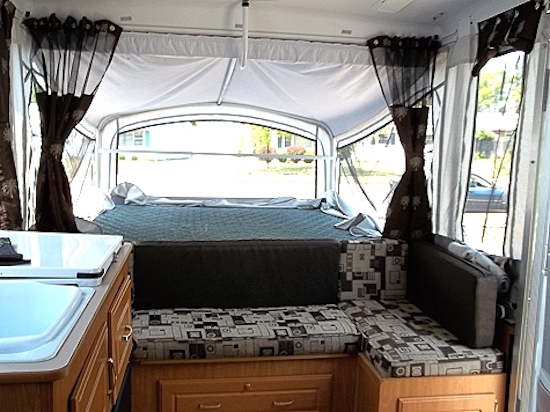 Pop Up Camper Gets Recovered Cushions And New Curtains