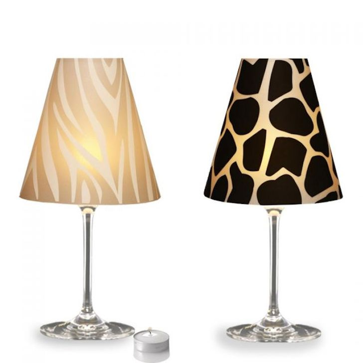 classy wine glass lamp made from vellum or tracing paper. Black Bedroom Furniture Sets. Home Design Ideas