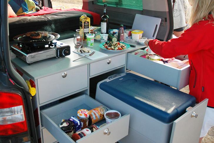 5 ingenious european camper in a box designs for Camper van kitchen units