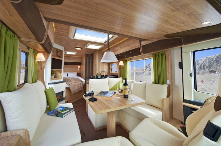 swiss chalet style motorhome conjures a ski lodge. Black Bedroom Furniture Sets. Home Design Ideas
