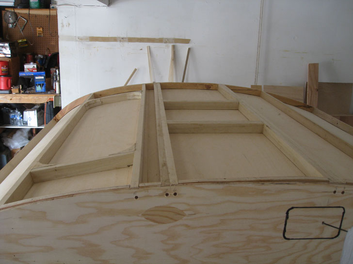 the inside skin with framing on top