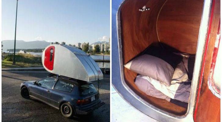 Daredevil Traveler Builds Custom Made Teardrop For His Car's Roof