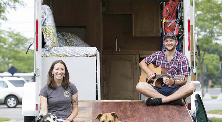 Musician Couple Sold Everything And Found Happiness Living In Converted Utility Trailer