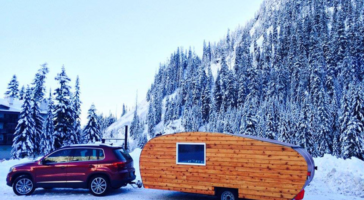 Wood Sided Cabin On Wheels Channels Pop Up, Teardrop, And Travel Trailer