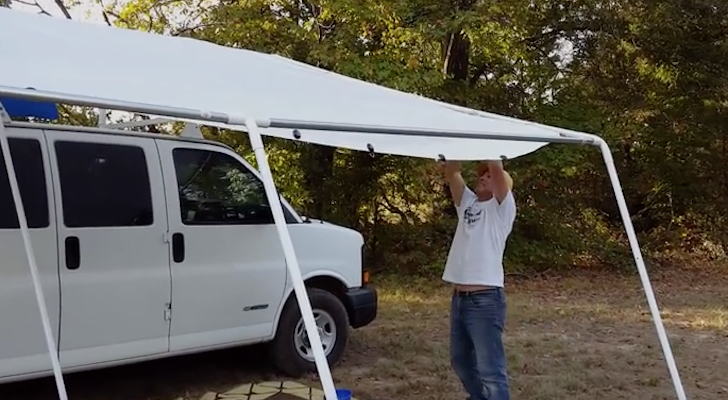 Portable Camper Awning : The answer to a truly portable rv deck or patio