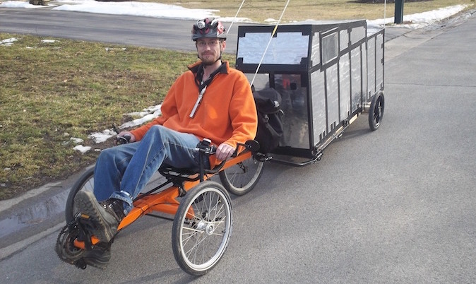 Winter Proof Insulated Bicycle Camper Pulled With Trike