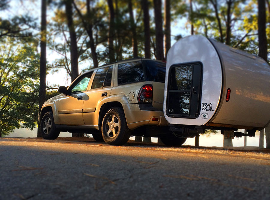 No Wheels Needed Expandable Camping Pod Attaches To Your