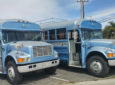 Once Classic Yellow School Bus Now Pale Blue Modern Mobile Home