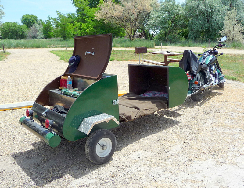 Tiny Motorcycle Camper Transforms From Storage Trailer To ...