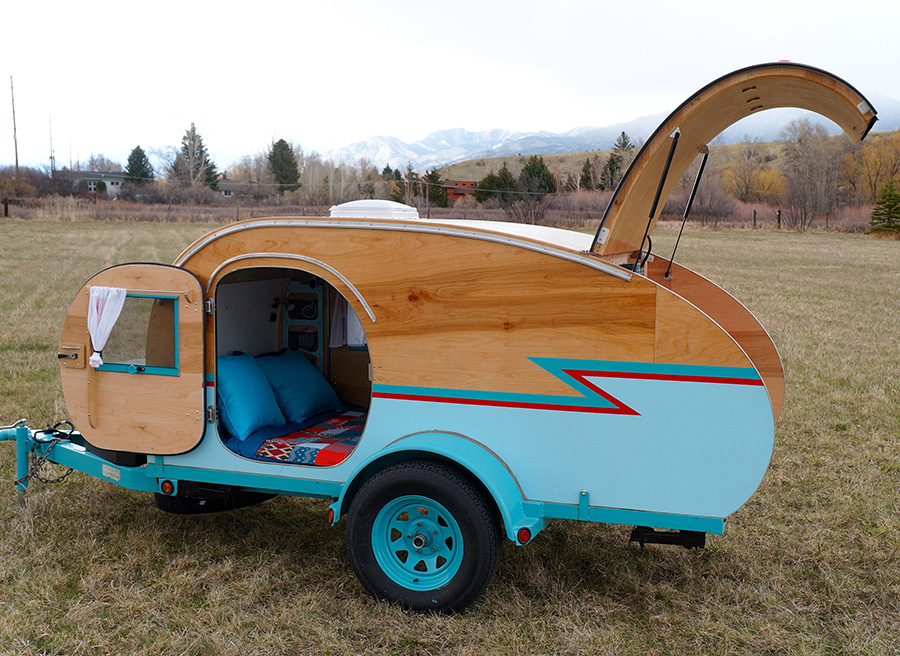 Montana Artists Build Teardrop Trailer Using Wrecked Auto